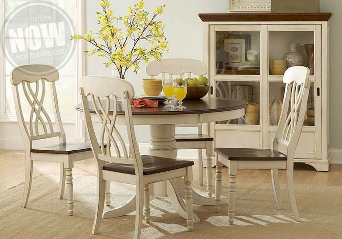 Ohana Antique White Dining Table And 4 Side Chairs