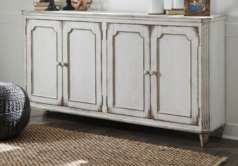 Mirimyn Antique White Door Accent Cabinet
