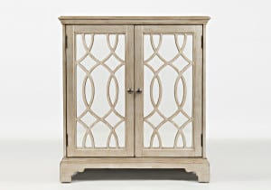 "Casa Bella 32"" Accent Cabinet Chestnut with Vintage Silver"