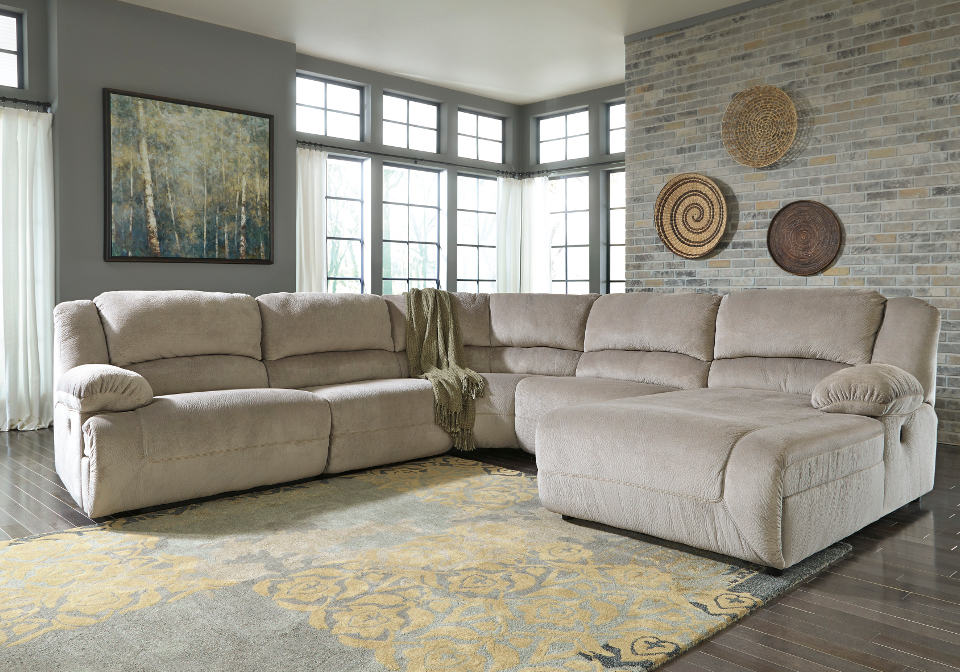 Toletta Granite 6pc Reclining Raf Chaise Sectional