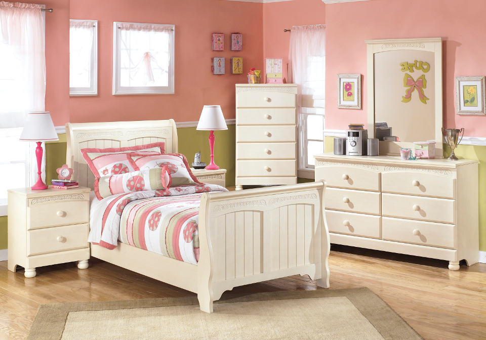 Twin Sleigh Bed Cream Cottage