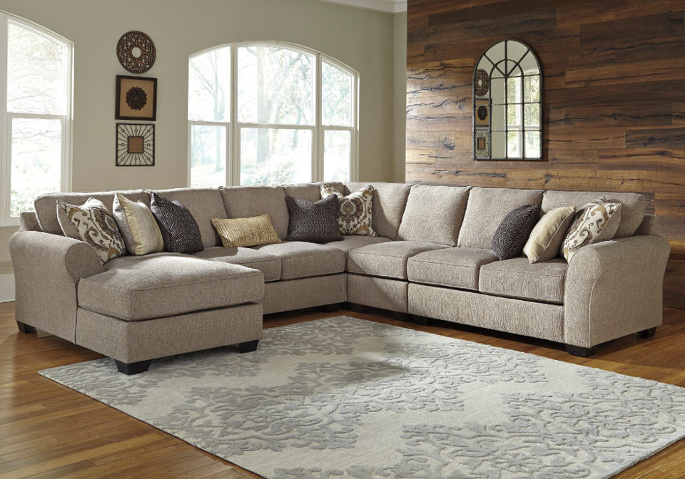 Pantomine Driftwood 5pc Raf Loveseat And Laf Chaise Sectional