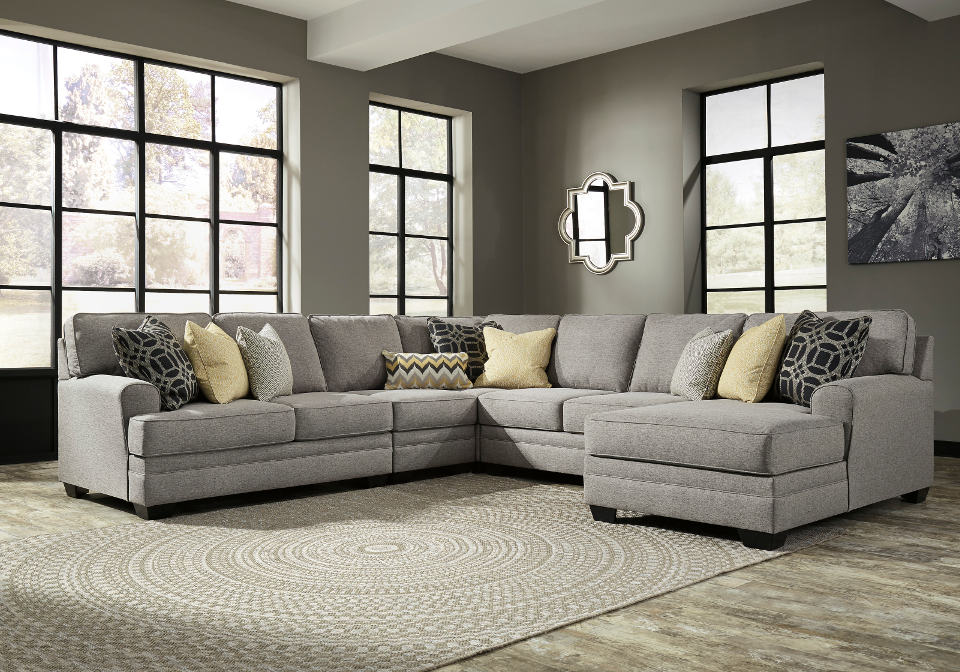 Cresson Pewter 5pc Laf Loveseat And Raf Chaise Sectional