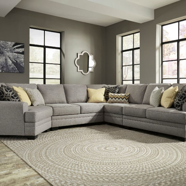Cresson Pewter 5pc Raf Loveseat And Laf Cuddler Sectional