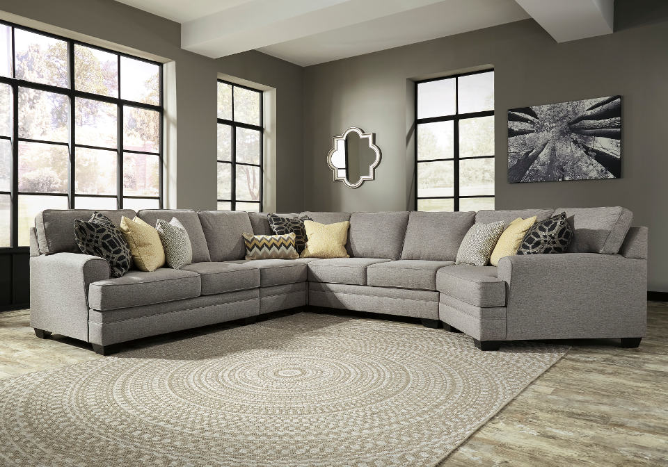 Cresson Pewter 5pc Laf Loveseat And Raf Cuddler Sectional