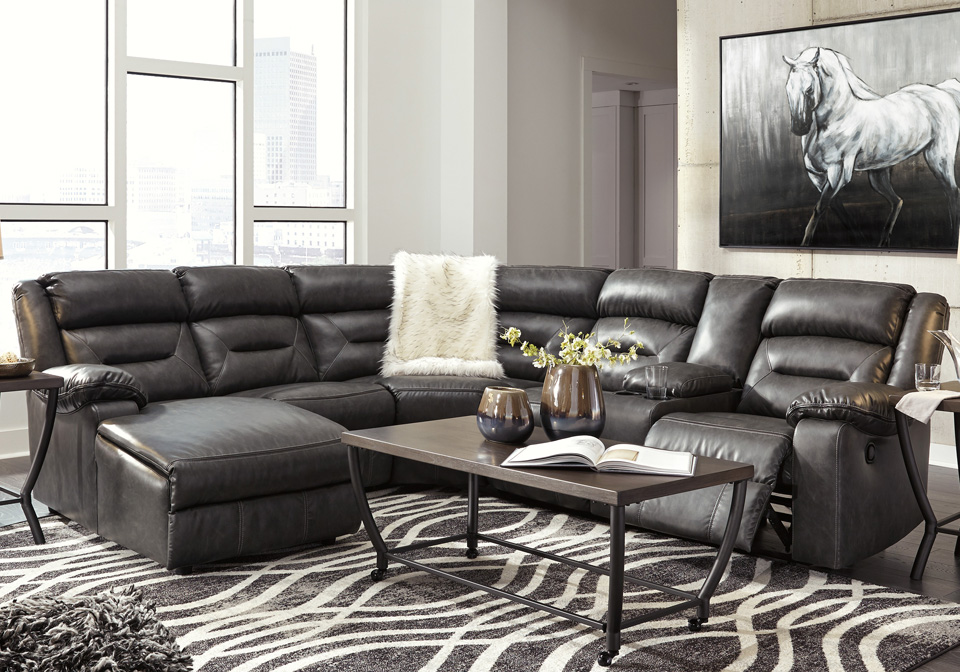 Coahoma Dark Gray 6pc Laf Reclining Chaise Sectional W Console
