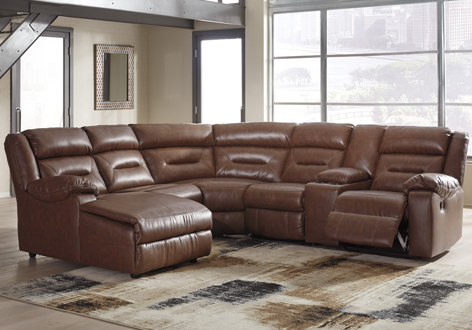 Coahoma Chestnut 6pc Laf Power Reclining Chaise Sectional W Console