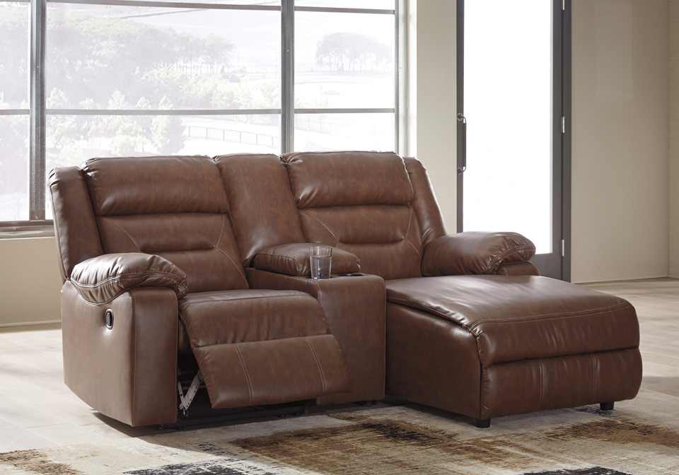 Coahoma Chestnut 3pc Raf Power Reclining Chaise Sectional W Console