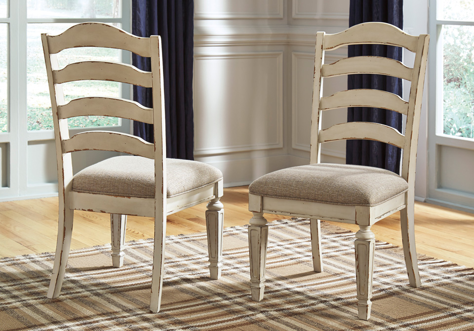 Realyn 2 Chipped White Upholstered Dining Chairs