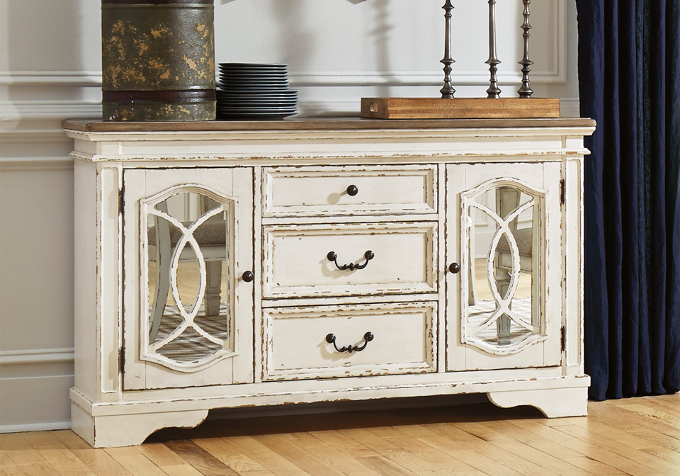Realyn Chipped White Dining Room Server Cincinnati