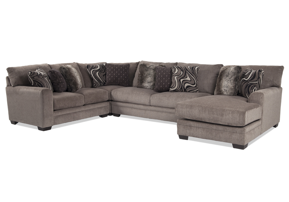 Incredible Jackson Luxe Pewter 4Pc Raf Sectional Squirreltailoven Fun Painted Chair Ideas Images Squirreltailovenorg