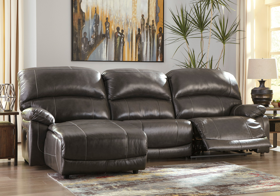 Hallstrung Gray 3pc Laf Power Reclining Chaise Sectional