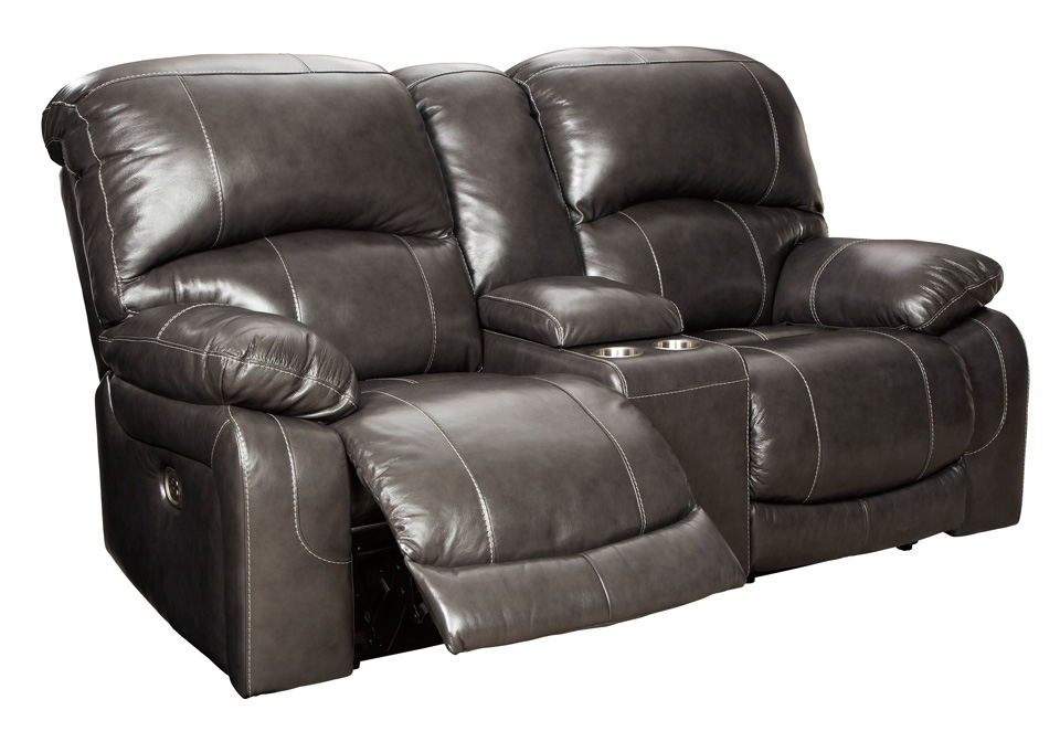 Hallstrung Gray Power Reclining Loveseat W Console