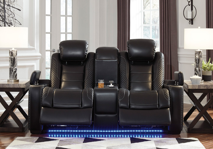 Party Time Midnight Power Reclining Loveseat W Console