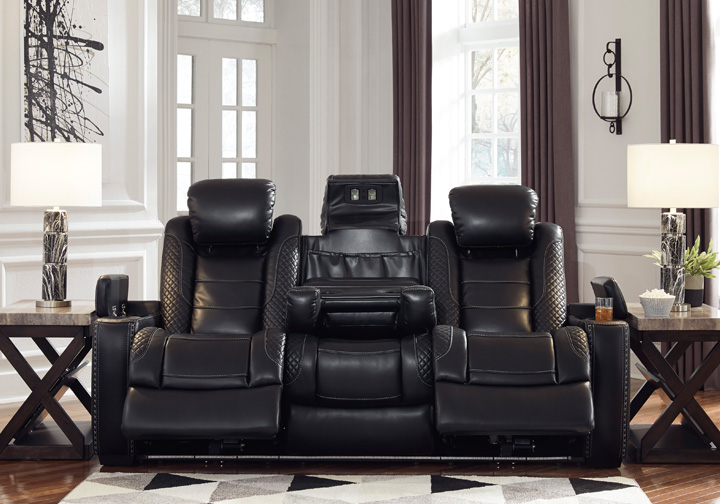 Party Time Midnight Power Reclining Sofa W Adjustable