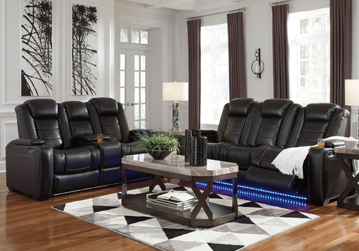 Party Time Midnight Power Reclining Sofa Set W Console