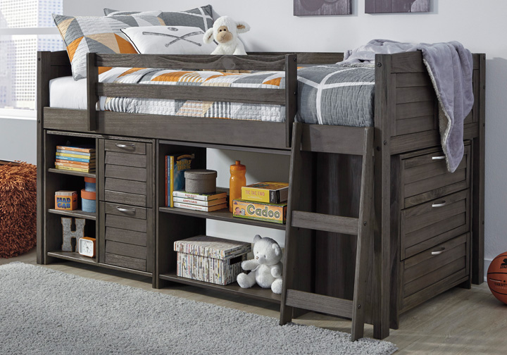 Outstanding Caitbrook Gray Twin Loft Bed W Storage Chest And Shelves Inzonedesignstudio Interior Chair Design Inzonedesignstudiocom