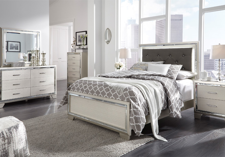 lonnix silver full upholstered bedroom set  cincinnati