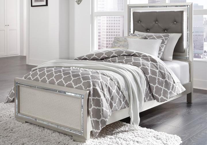 Lonnix Silver Twin Upholstered Bed Cincinnati Overstock