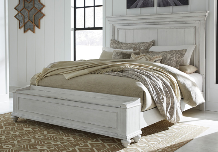 Kanwyn Whitewash Queen Panel Storage Bed Cincinnati