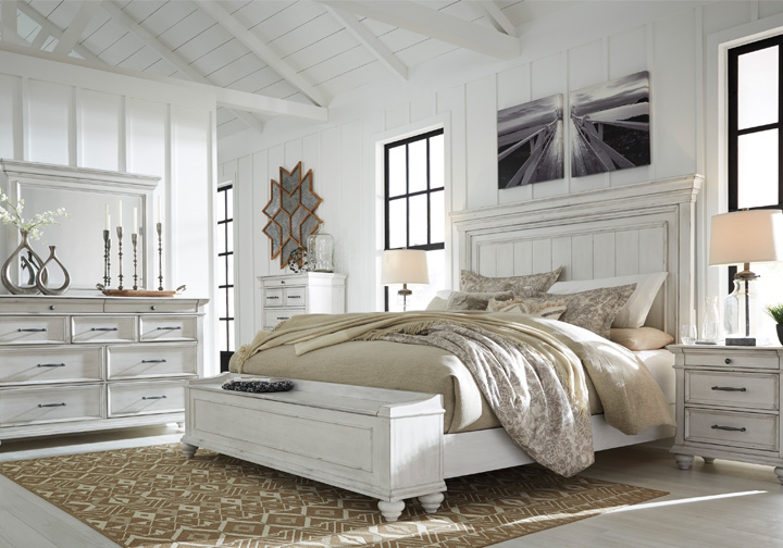 Kanwyn Whitewash King Panel Storage Bedroom Set Cincinnati