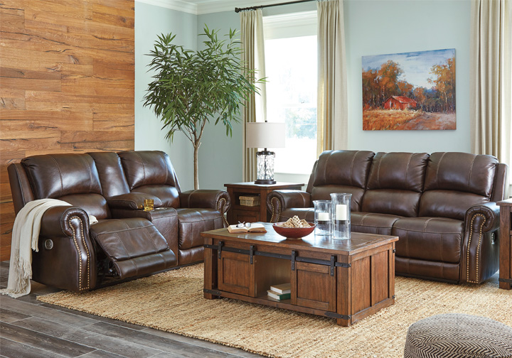 Buncrana Chocolate Power Reclining Sofa Set w/ Console & Adjustable Headrest