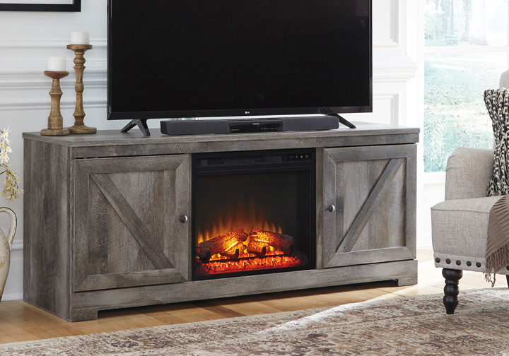 Wynnlow Gray Tv Stand W Fireplace Insert Cincinnati Overstock