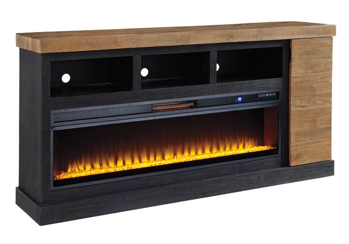 Fantastic Tonnari Two Tone Brown Extra Large Tv Stand W Fireplace Insert Download Free Architecture Designs Boapuretrmadebymaigaardcom