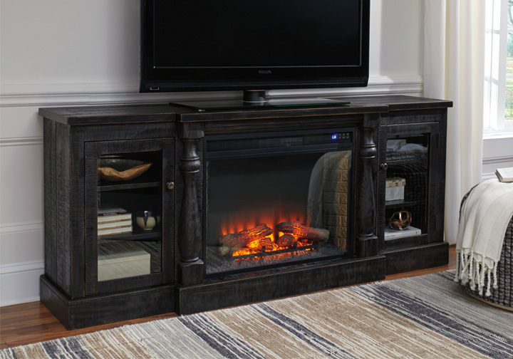 Mallacar Black Extra Large Tv Stand W Fireplace Insert