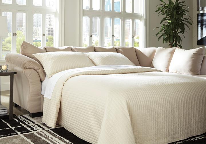 Darcy Stone 2pc Raf Sleeper Sofa Chaise Sectional