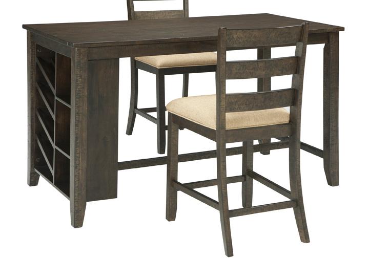 Rokane Brown Rectangular Counter Height Dining Table w/ Storage