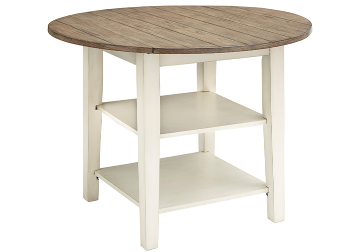 Bardilyn Antique White Round Drum Drop Leaf Dining Table