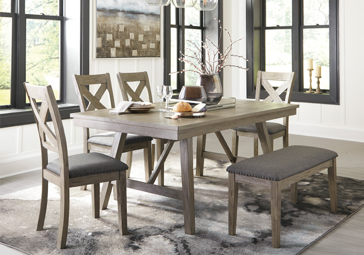 Aldwin Gray 6 Pc. Rectangular Dining Set with Upholstered Bench