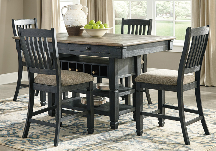 Tyler Creek Two Tone Black 5 Pc Counter Height Dining Set Cincinnati Overstock Warehouse