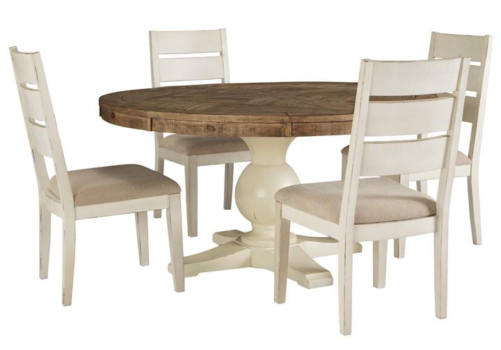 Grindleburg Antique White 5 Pc Round, 5 Piece Dining Set Round Table