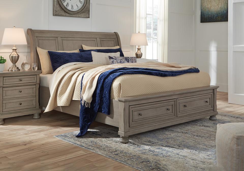 lettner light gray queen sleigh storage bedroom set