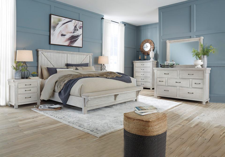 Excellent Brashland Linen King Panel Uph Bench Bedroom Set Inzonedesignstudio Interior Chair Design Inzonedesignstudiocom