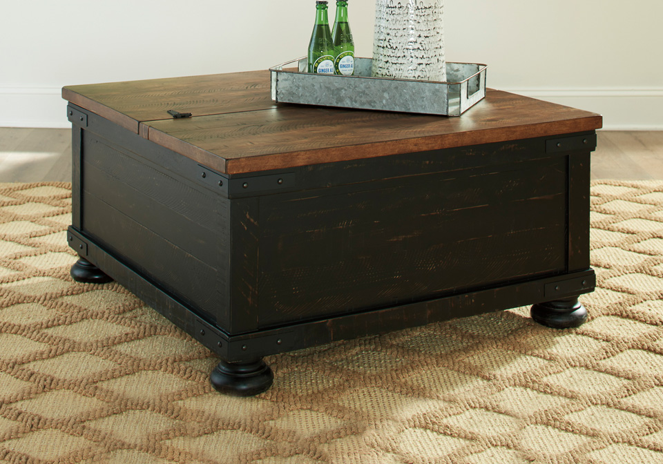 Valebeck Black Brown Square Lift Top Cocktail Table Cincinnati Overstock Warehouse
