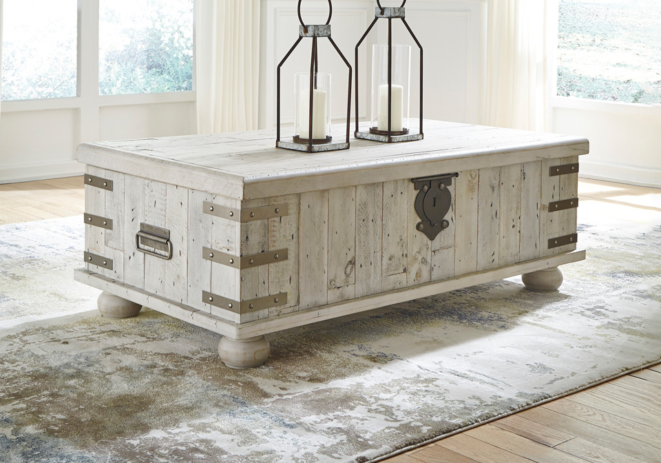Carynhurst White Wash Gray Lift Top Cocktail Table Cincinnati