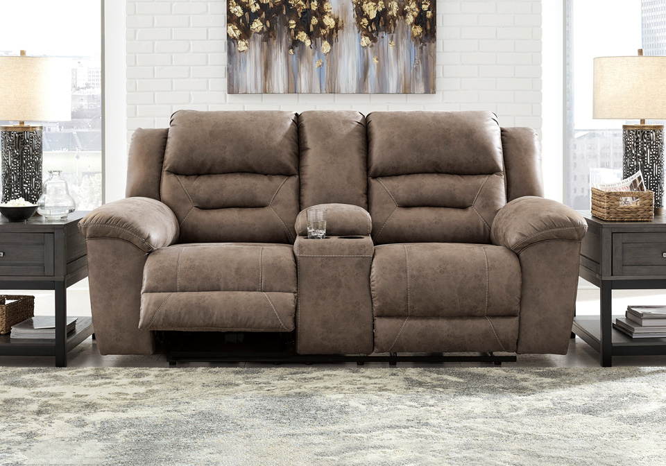 Terrific Stoneland Fossil Power Reclining Loveseat W Console Caraccident5 Cool Chair Designs And Ideas Caraccident5Info