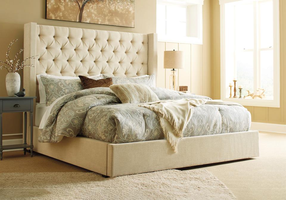 Pleasing Norrister Beige Queen Upholstered Storage Bed Inzonedesignstudio Interior Chair Design Inzonedesignstudiocom
