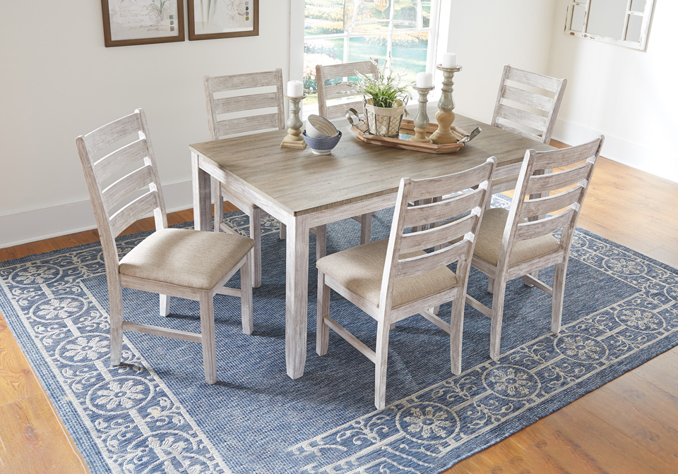 Skempton White 7pc Dining Room Table, White Dining Room Sets