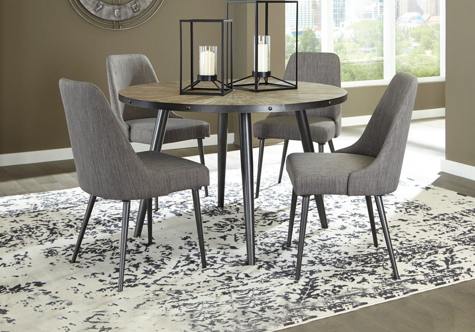 Coverty Gray Round Dining Room Table Cincinnati Overstock Warehouse