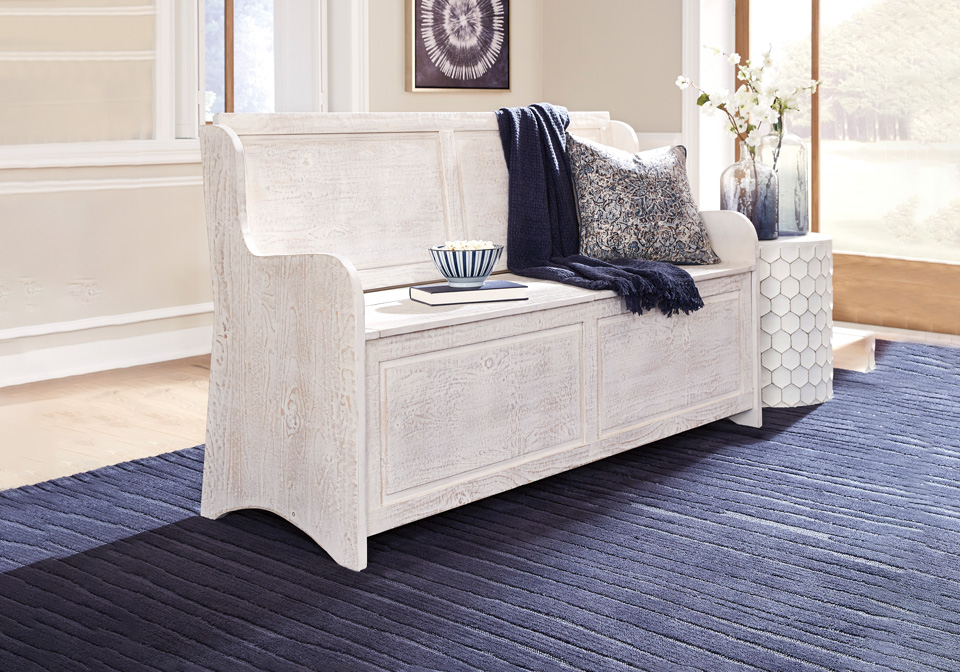 Swell Dannerville White Storage Bench Caraccident5 Cool Chair Designs And Ideas Caraccident5Info