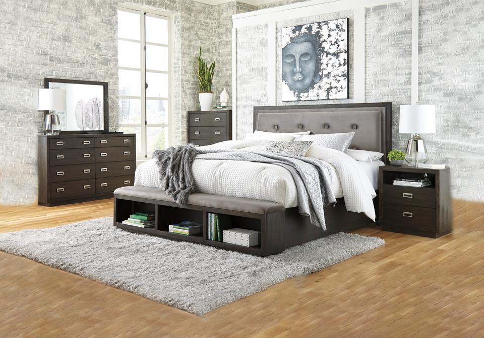 Hyndell Dark Brown King Upholstered Storage Bedroom Set Cincinnati Overstock Warehouse