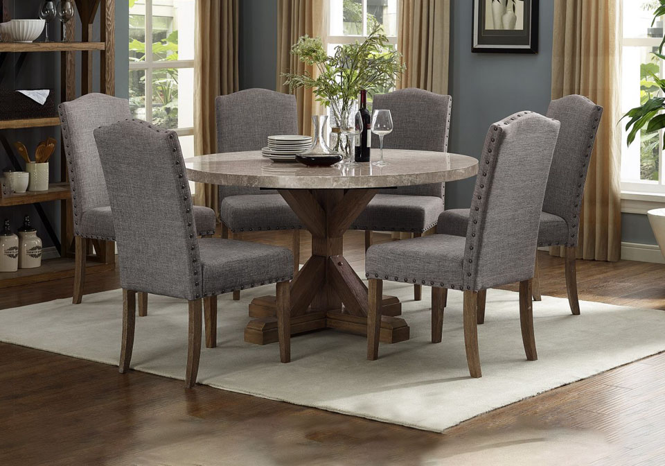 Vesper Marble 5pc Round Dining Set, Modern Round Dining Table Set