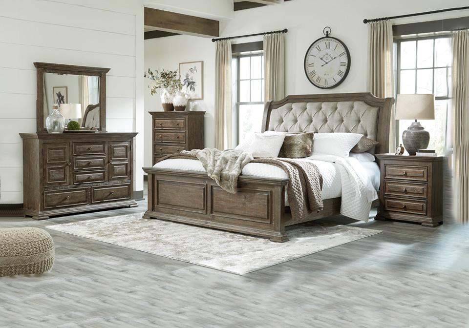wyndahl brown upholstered king bedroom set | cincinnati overstock warehouse